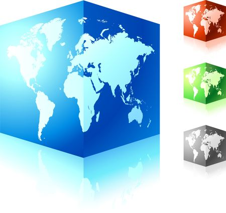 cubic globe set Original Illustration Globes and Maps Ideal for Business Concepts