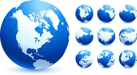 Globe collection Original Illustration Globes and Maps Ideal for Business Concepts  illustration