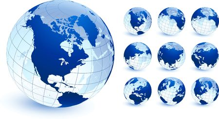 Globe collection Original Illustration Globes and Maps Ideal for Business Concepts  免版税图像