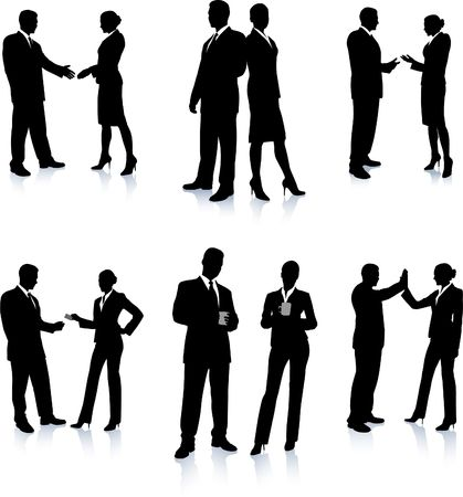 business team meeting: Business Team Silhouette Collection Original Illustration People Silhouette Sets Stock Photo