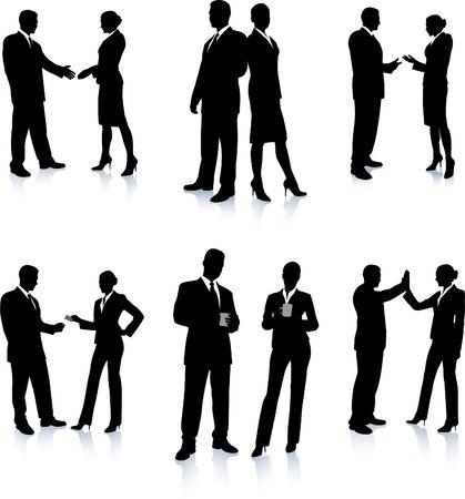 Business Team Silhouette Collection Original Illustration People Silhouette Sets Standard-Bild