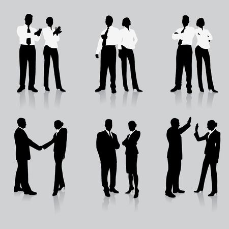 couple lit: Business Team Silhouette Collection Original Illustration People Silhouette Sets Stock Photo