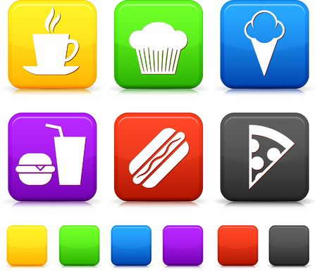 Food Icon on Square Internet Buttons Original Illustration