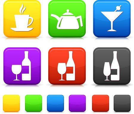 Food Icon on Square Internet Buttons Original Illustration