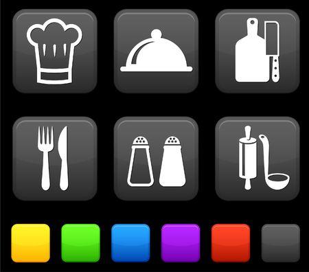 Food Icond on Square Internet Buttons Original vector Illustration illustration
