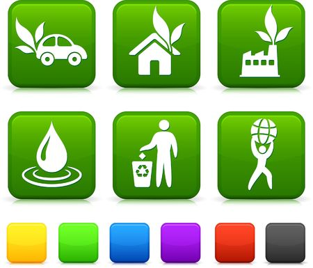 Nature Environment icons on square internet buttons Original vector Illustration illustration