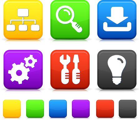Internet Icons on Square Buttons Original vector Illustration illustration