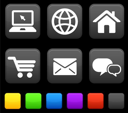 Internet Icons on Square Buttons Original Illustration illustration