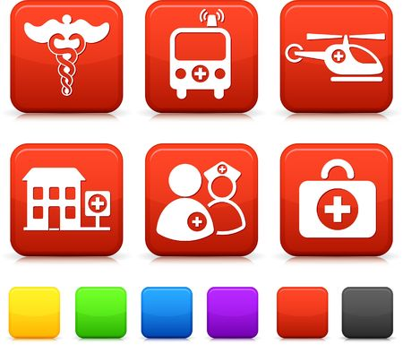 Medische pictogrammen op de originele illustratie Square Internet Buttons
