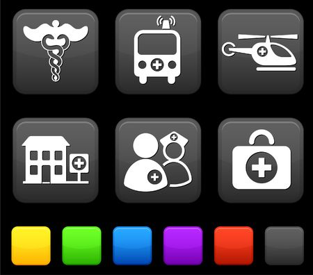 Medical Icons on Square Internet Buttons Original Illustration illustration