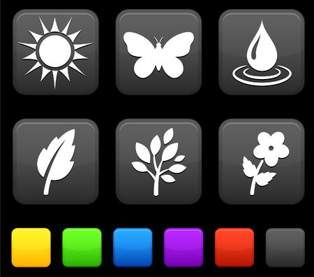 Nature Environment icons on square internet buttons Original Illustration illustration