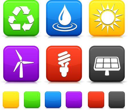 Natuur omgeving pictogrammen op vierkante knoppen van internet Oorspronkelijke vector illustratie