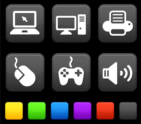 Technologie-Icons auf Square Internet-Buttons Original Illustration  Standard-Bild - 6572429