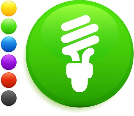 fluorescent light bulb icon on round internet button original illustration 6 color versions included