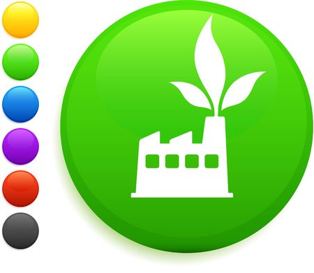factory icon on round internet buttonoriginal vector illustration6 color versions included Stock Illustration - 6572288