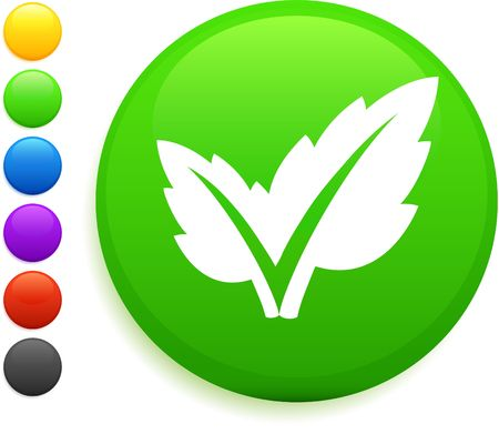 leaf icon on round internet button original illustration 6 color versions included  Stock fotó