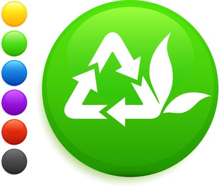 recycle icon on round internet buttonoriginal vector illustration6 color versions included Stock Illustration - 6572416
