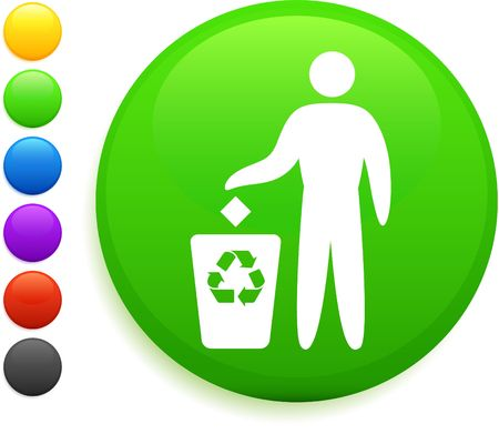 recycle icon on round internet button original illustration 6 color versions included  illustration