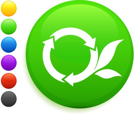 round recycle icon on round internet button original vector illustration 6 color versions included  illustration