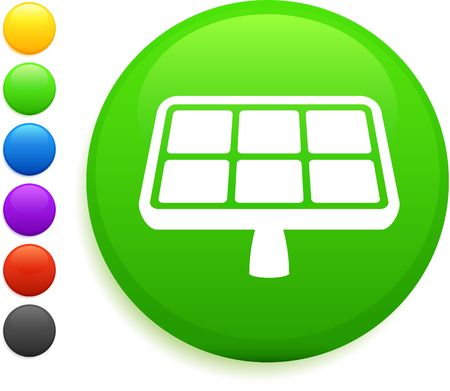 solar panel icon on round internet button original vector illustration 6 color versions included
