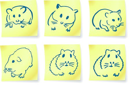 mice and hamsters on post it notes original illustration 6 color versions included