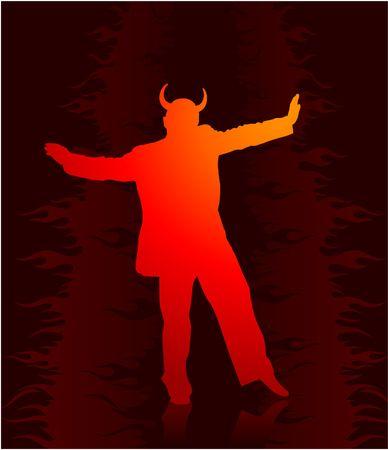 Originele vectorillustratie: partij in de hel met duivel AI8 compatibel Stockfoto - 6572244