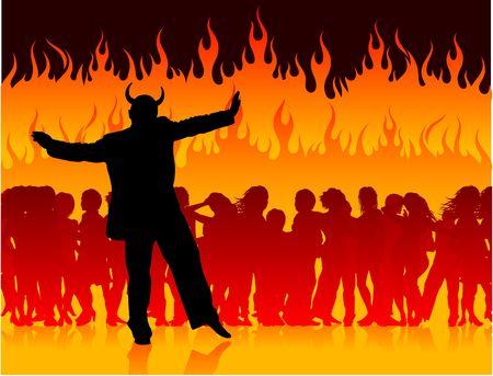 オリジナル イラスト: 地獄のパーティーで悪魔 AI8 互換