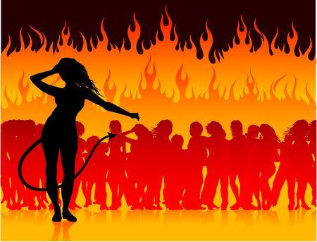 Originele vectorillustratie: partij in de hel met ze duivel AI8 compatibel Stockfoto - 6572708