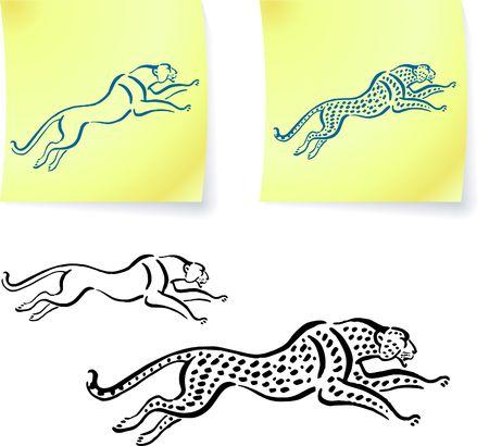 Jaguar and leopard drawings on post it notes original illustration 6 color versions included Banco de Imagens