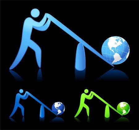 apalancamiento: Ilustraci�n original: levantamiento del mundo (palanca)