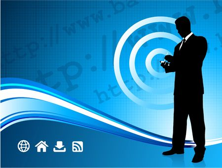 Origianl Illustration: Wireless internet background with modern businessman File is AI8 compatible  illustration