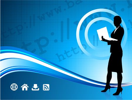 Origianl Illustration: Wireless internet background with modern businesswoman File is AI8 compatible
