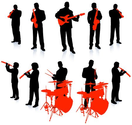 Live Music Band Collection Original Illustration People Silhouette Sets Stock Photo