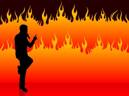 Original Illustration: singer performing on fire background AI8 compatible illustration