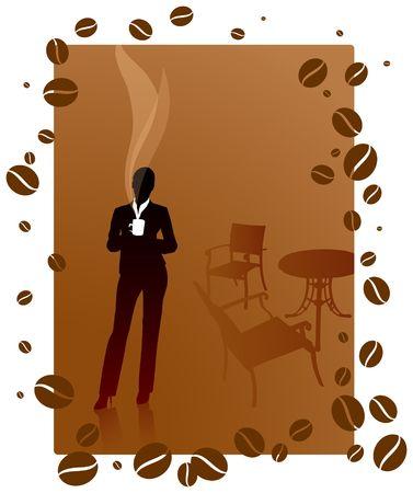 Origianl Illustratie: zakelijk koffiepauze-bestand is AI8-compatibel