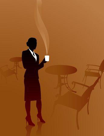 Origianl Illustration: Business coffee break File is AI8 compatible