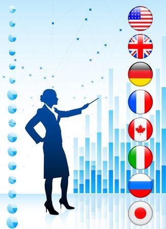 canadian flag: Businessman Presenting World Chart Original Illustration