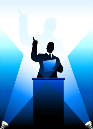 Origianl Vector Illustration: Businesspolitical speaker silhouette behind a podium  File is AI8 compatible  illustration