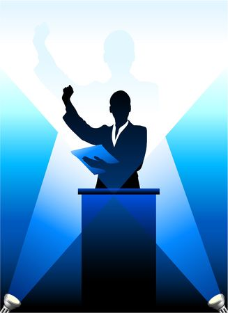 speaker: Origianl Illustration: Businesspolitical speaker silhouette behind a podium  File is AI8 compatible