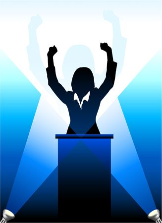 speaker: Origianl Vector Illustration: Businesspolitical speaker silhouette behind a podium  File is AI8 compatible