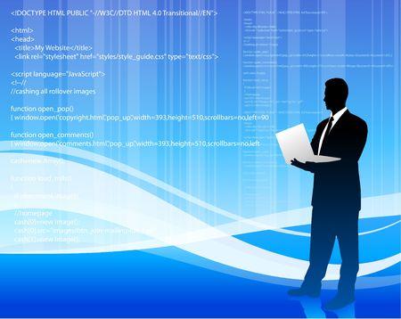 Original Illustration:  computer programmer on blue wave internet background File is AI8 compatible  illustration