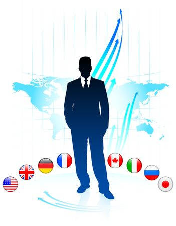 Businessman Leader on World Map with Flags Original Illustration illustration
