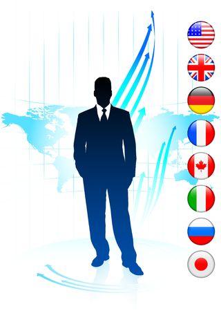 Businessman Leader on World Map with Flags Original Illustration illustration