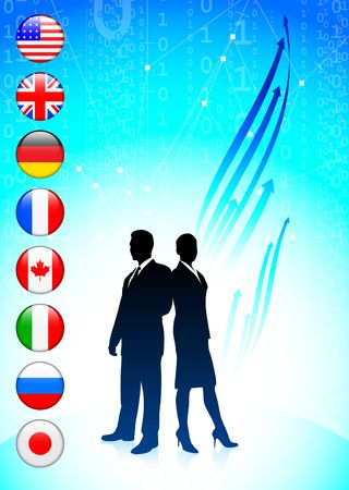 Business team on binary code background with flags Original Illustration illustration