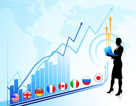 Businesswoman on chart background with Graph Original Illustration illustration