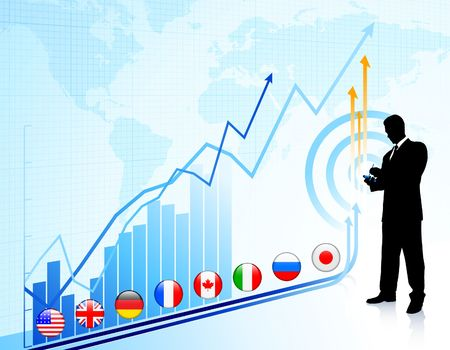 french flag: Businessman on chart background with Graph Original Illustration