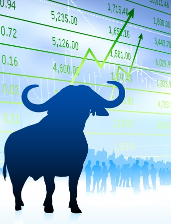 stock: bull on stock market background with financial team Original Vector Illustration Wild Bull on unique creative background Ideal for stock market concepts