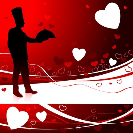 Chef on Valentine's day background Original Illustration Chef on unique creative background Stock Illustration - 6571734