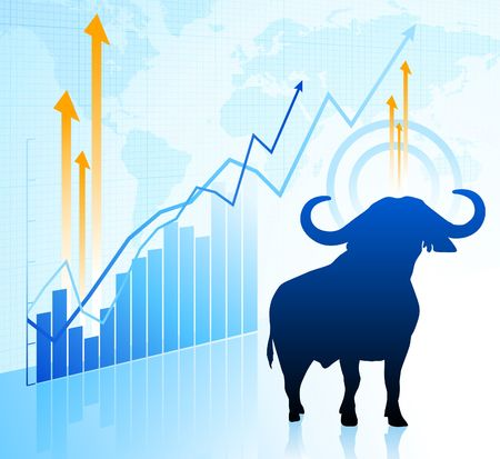 bull on world market background Original Illustration Wild Bull on unique creative background Ideal for stock market concepts Stock Illustration - 6573434