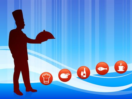 Chef on wave background with internet buttons Original Illustration Chef on unique creative background  illustration